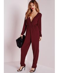 1ff43d78837 Lyst - Missguided Wrap Long Sleeve Jumpsuit Burgundy in Red