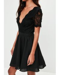 Missguided - Black Lace Plunge Front Skater Dress - Lyst