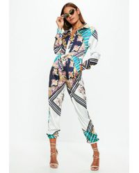 Missguided - White Printed Long Sleeve Utility Jumpsuit - Lyst