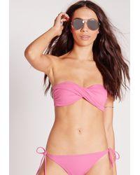 Missguided - Twist Bandeau Bikini Top Pink - Mix & Match - Lyst