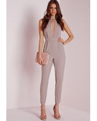 Missguided | Gray Choker Split Front Jumpsuit Taupe | Lyst