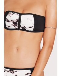 Missguided - Marble Zip Front Bandeau Bikini Set Black - Lyst