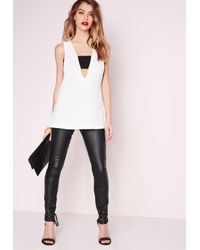 Missguided | Contrast Band Sleeveless Blouse White | Lyst