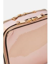Missguided - Pink Rose Gold Reflective Metallic Square Cross Body Bag - Lyst