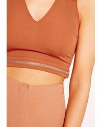 Missguided - Zip Detail Crop Top Orange - Lyst