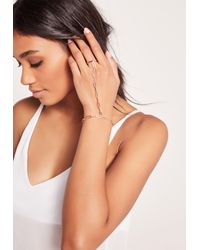 Missguided | Metallic Rose Gold Simple Hand Chain | Lyst