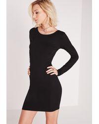 Missguided - Long Sleeve Criss Cross Back Bodycon Dress Black - Lyst