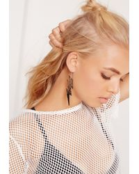 Missguided - Pink Lightening Bolt Earrings Gold - Lyst