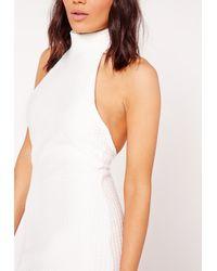 Missguided - Waffle Texture Choker Midi Dress White - Lyst