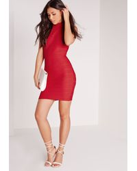 Missguided - High Neck Bandage Bodycon Dress Red - Lyst