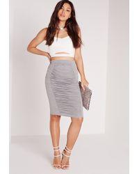 Missguided - Orange Ruched Detail Midi Skirt Grey - Lyst
