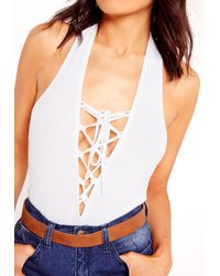 Missguided - Halter Neck Ribbed Lace Up Bodysuit White - Lyst