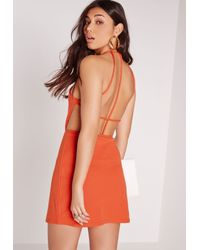 Missguided - Strappy Back Shift Dress Orange - Lyst