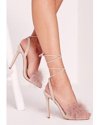 Missguided - Natural Lace Up Feather Heeled Sandals Nude - Lyst