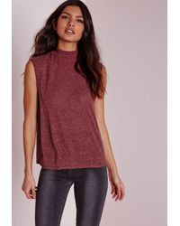 Missguided - Purple Petite Turtle Neck Scoop Armhole Burgundy - Lyst