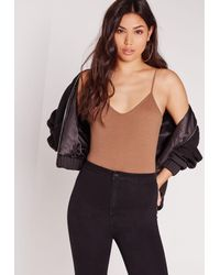 Missguided   Natural Cami Strap Bodysuit Camel   Lyst