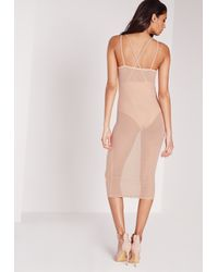Missguided - Natural Mesh Strappy Midi Dress Nude - Lyst