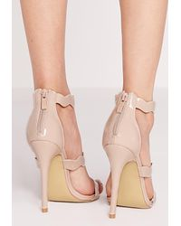 Missguided - Natural Wave Three Strap Barely There Sandal Nude - Lyst