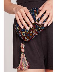 Missguided - Pink Boho Tassel Embroidered Clutch Bag - Lyst
