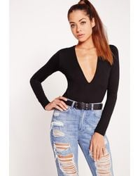 Missguided - Natural Two Pack Long Sleeve Plunge Neck Bodysuit Black And Camel - Lyst