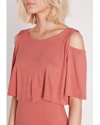 Missguided - Cold Shoulder Frill Bodycon Dress Pink - Lyst