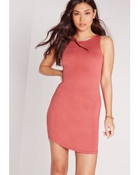 Missguided - Red Sleeveless Curve Hem Bodycon Dress Burnt Rose - Lyst