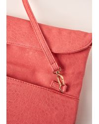 Missguided - Orange Fold Over Clutch Bag Pink - Lyst