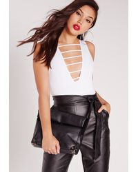 Missguided - Lattice Front Bodysuit White - Lyst