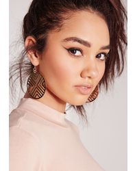 Missguided | Metallic Geometric Disk Earrings Gold | Lyst