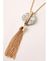 Missguided - Metallic Marble Pendant Drop Necklace Gold - Lyst