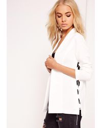 Missguided | Crepe Lace Up Blazer White | Lyst