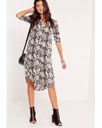 Missguided - Multicolor Snake Print Longline Shirt Dress Multi - Lyst