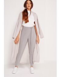 Missguided - Gray Eyelet Tie Waist Cigarette Trousers Grey - Lyst