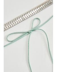 Missguided - Metallic Silver Chain Mint Tie Choker Necklace - Lyst