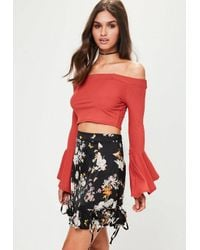 dc213081fe75 Missguided Black Lace Up Ruffle Mini Skirt in Black - Lyst