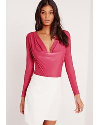 Missguided - Slinky Cowl Neck Bodysuit Pink - Lyst