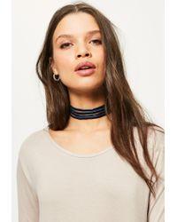 Missguided - Blue Navy Velvet Multi Layer Choker Necklace - Lyst