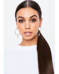 Missguided - Metallic Gold Look Hoop With Cross Charm - Lyst