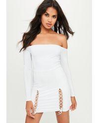 135fdc5f9b Missguided White Slinky Bardot Mini Dress in White - Lyst