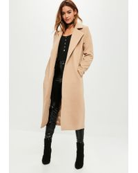 cafb8aee6dba7 Lyst - Missguided Tall Camel Longline Faux Wool Duster Coat in Natural