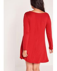 Missguided - Plus Size Lace Up Swing Dress Red - Lyst
