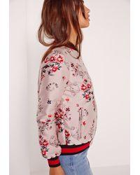 Missguided - Premium Jacquard Bomber Jacket Pink - Lyst