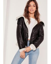 Missguided | Black Faux Shearling Leather Look Aviator Pilot Jacket | Lyst
