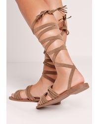 Missguided - Thick Strap Flat Wrap Around Sandal Brown - Lyst