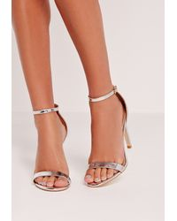 Missguided - Metallic Barely There Heeled Sandal Silver - Lyst