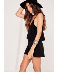Missguided - Jersey Strappy Double Layer Playsuit Black - Lyst