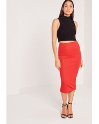 Missguided - Ribbed Midi Skirt Red - Lyst