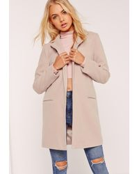 f6cda29c2456 Missguided Short Tailored Faux Wool Coat Nude - Lyst
