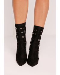 Missguided - Eyelet Stud Sock Ankle Boots Black - Lyst
