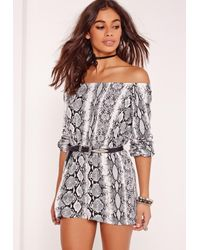 Missguided | Multicolor Snake Print Bardot Romper Grey | Lyst